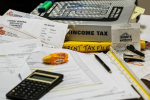 income tax, papers, clutter