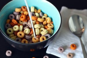 Cheerios, breakfast, spoon, milk